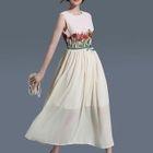 Embroidered Sleeveless Midi Chiffon Dress 1596