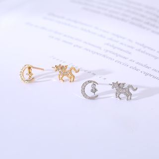 Rhinestone | Sterling | Unicorn | Earring | Silver | Moon
