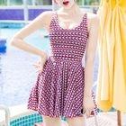 Set: Patterned Swim Dress + Swim Bottom 1596