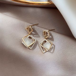 Cat Eye Stone Alloy Square Dangle Earring 1 Pair - Gold - One Size