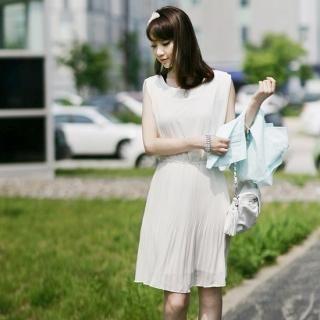 Buy Soegirl Sleeveless Accordion Pleats Chiffon Dress 1023038834