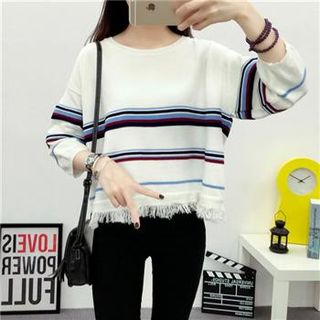 3/4-Sleeve Striped Knit Top White - One Size 1051125058