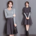Set: Elbow-Sleeve Knit Top + A-Line Skirt + Long-Sleeve Knit Top 1596