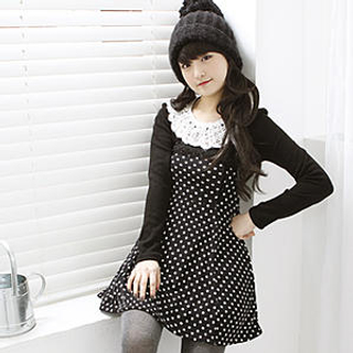 White Polka  Dress on Korean Polka Dot Dress With Black Color Of Dress And White Polka Dot