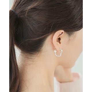 Irregular   Earring   Silver   Hoop