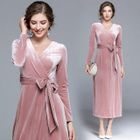 Tie-Waist Velvet Maxi Dress 1596