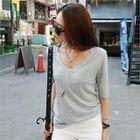 Short Sleeve V-Neck Ribbed T-Shirt 1596