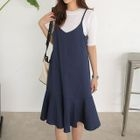 Ruffle-Hem Midi Pinafore Dress 1596