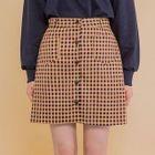 Button-Front Plaid Mini Skirt 1596