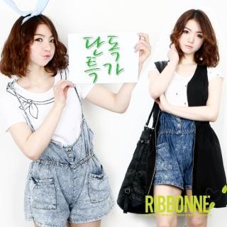 Buy Ribbonne Acid Washed Denim Jumper Shorts 1022690798