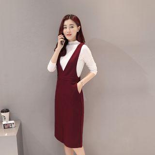 Set: Long-Sleeve Knit Top + Slit-Front Jumper Dress 1055045963