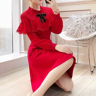 Rosewind Lace Panel Long-Sleeve A-Line Dress