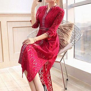Rosewind V-Neck 3/4-Sleeve Lace Midi Dress
