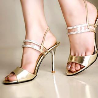 Buy Kvoll Rhinestone-Detail Metallic Sandals 1022740913