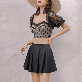 Short-sleeve   Cover-up   Skirt   Short   Swim   Mesh   Top
