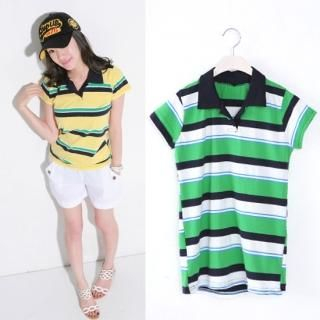Picture of Celli Girl Striped Short-Sleeve Polo Shirt 1022810931 (Celli Girl Tees, Womens Tees, South Korea Tees, Polo Shirts)