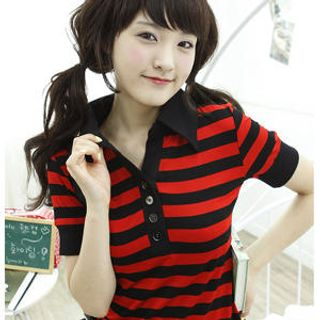 Picture of Dodostyle Striped Polo Shirt 1022851488 (Dodostyle Tees, Womens Tees, South Korea Tees, Causal Tops, Polo Shirts)