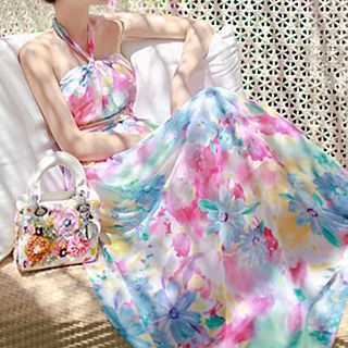 Halter Chiffon Maxi Dress 1049704080
