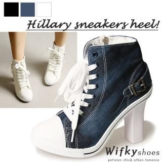 Buy Wifky Lace-Up Denim Sneakers Detail Pumps 1023048695