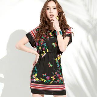 Buy Joanne Kitten Short-Sleeve Printed Dress with Belt 1022926114