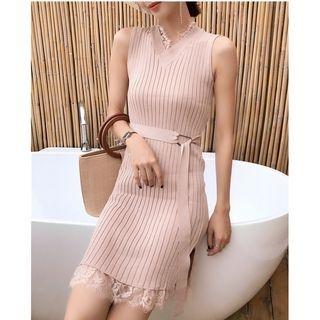 Lace Trim Ribbed Sleeveless Bodycon Dress 1061980983