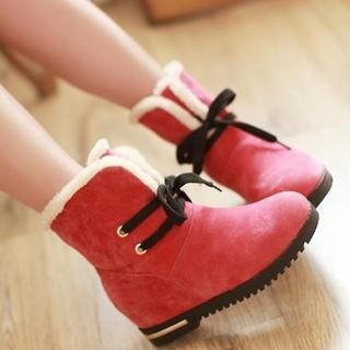 Fleece-Lined Wedge Ankle Boots