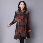Plaid Long-Sleeve Knit Dress 1596