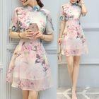 Floral Print Short-Sleeve A-Line Dress with Mandarin Collar 1596