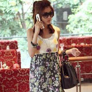 Picture of PUFFY Floral Print Crochet Top 1022814872 (PUFFY Dresses, Womens Dresses, Taiwan Dresses)