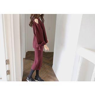 Set: Cutaway-Shoulder Sweater + Knit Skirt 1054175969