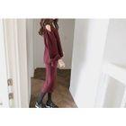 Set: Cutaway-Shoulder Sweater + Knit Skirt 1596