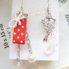 Hand made Lovely clock with red spot cotton earrings 1596
