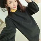 Color Block Ribbed Knit Long Sweater 1596