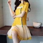 Set: Short-Sleeve Asymmetric A-Line Lace Dress + Strappy Dress 1596