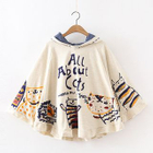 Cat Print Hooded Cape Top 1596