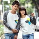Couple Matching Heart Applique Pullover 1596
