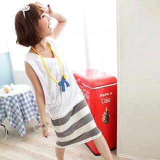 Buy OrangeBear Printed Striped Halter Dress 1023052916