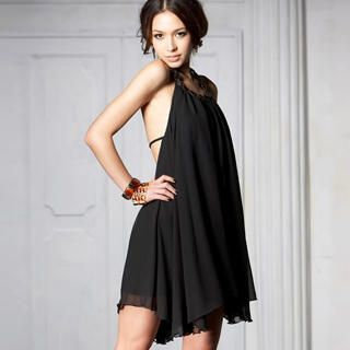 Buy Joanne Kitten Sleeveless Beaded-Collar Backless Chiffon Dress 1022936707