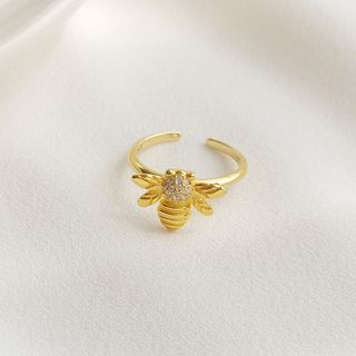 Rhinestone   Sterling   Silver   Open   Ring   Gold   Size   Bee   One