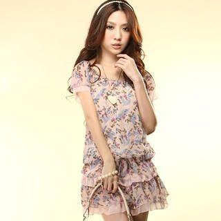 Buy Tokyo Fashion Short-Sleeve Layered Floral Chiffon Dress 1022859562