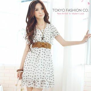 Buy Tokyo Fashion Flutter-Sleeve Printed Chiffon Dress 1022859625