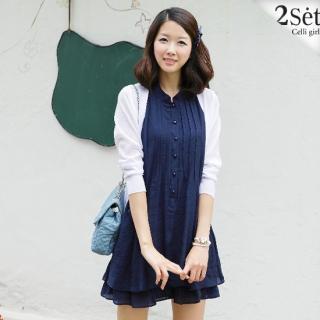 e9179d784ed7c Celli Girl Set  Pintuck Sleeveless A-Lined Dress + Sheer Long Knit Cardigan  1022867739
