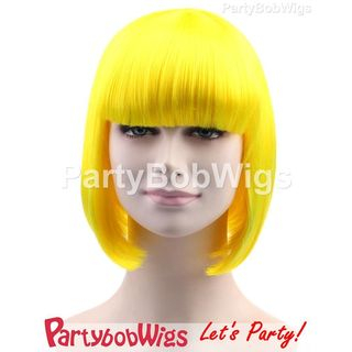 Yellow | Party | Short | Neon | Size | Wig | Bob | One