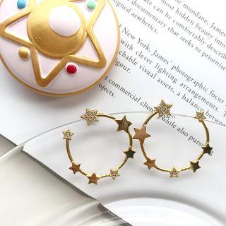 Rhinestone | Sterling | Earring | Silver | Hoop | Open | Star | Gold | Size | One