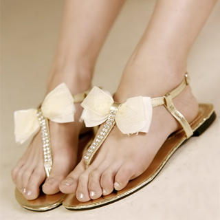 98e401f7e164 Buy Kvoll Bow Diamante Thong Sandals 1022990604