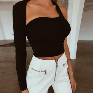 Image of Asymmetric Cutout Backless Cropped T-Shirt