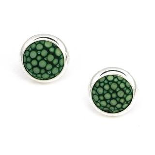 Picture for 925 Sterling Silver Green Shagreen Bezel Setting Round Stud Earrings - United states