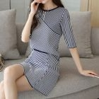 Set: Striped Elbow-Sleeve Knit Top + Knit Skirt 1596