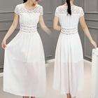 Short-Sleeve Lace-Panel Maxi Dress 1596