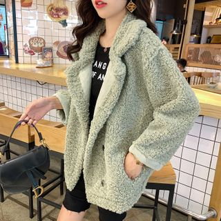 Image of Faux Shearling Snap Button Jacket